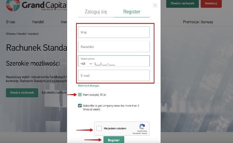 Rejestracja konta na Grand Capital