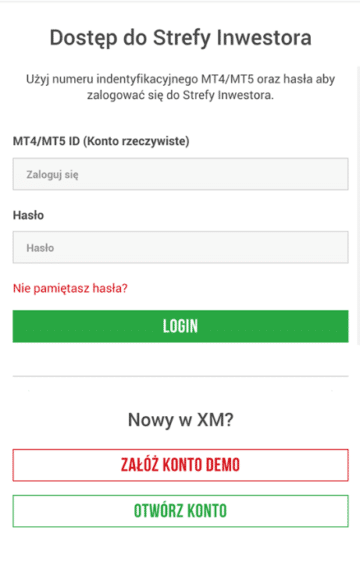 XM mobile nowe konto