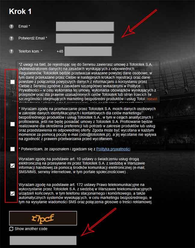totolotek rejestracja konta