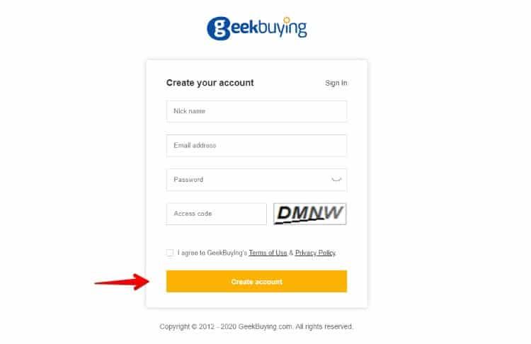 Rejestracja w GeekBuying