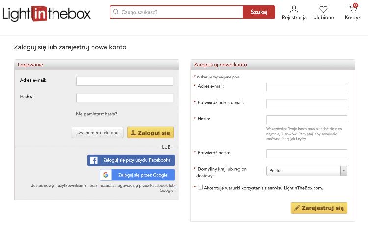 Rejestracja w Lightinthebox