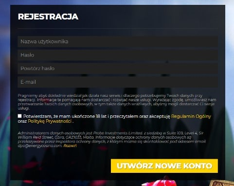 energy casino_rejestracja