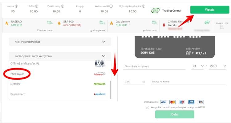 Wybierz metodę płatności w UFX