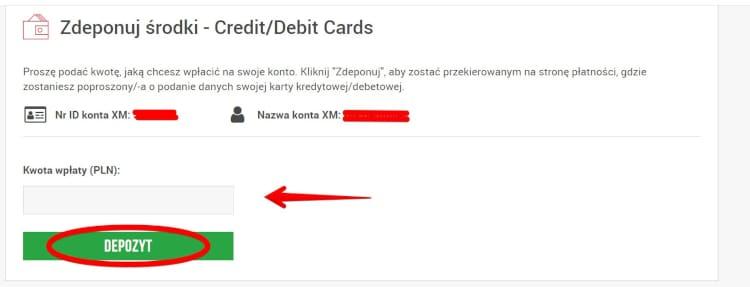Wpłata w XM za pośrednictwem karty płatniczej