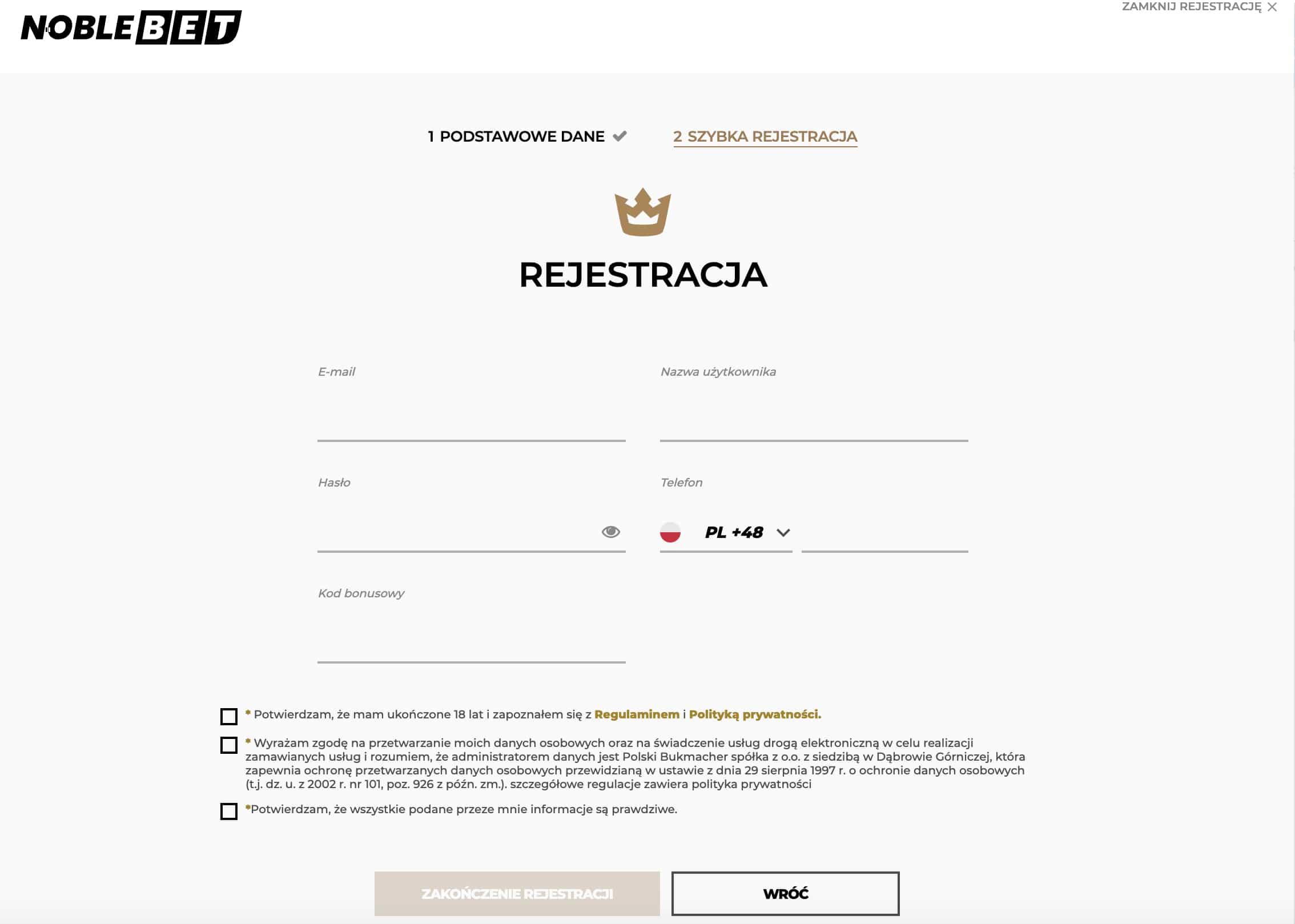 Noblebet rejestracja krok 3