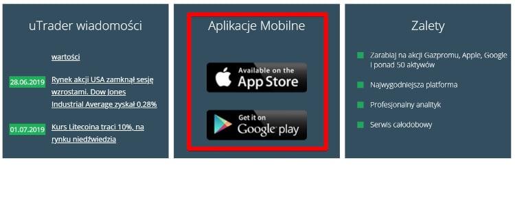 Aplikacja mobilna w Utrader