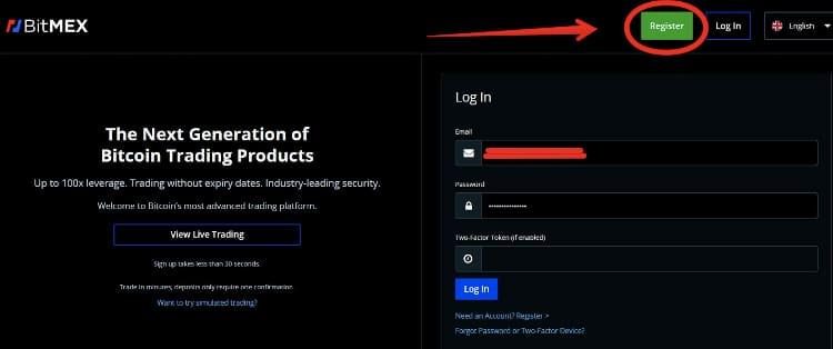 BitMEX-rejestracja