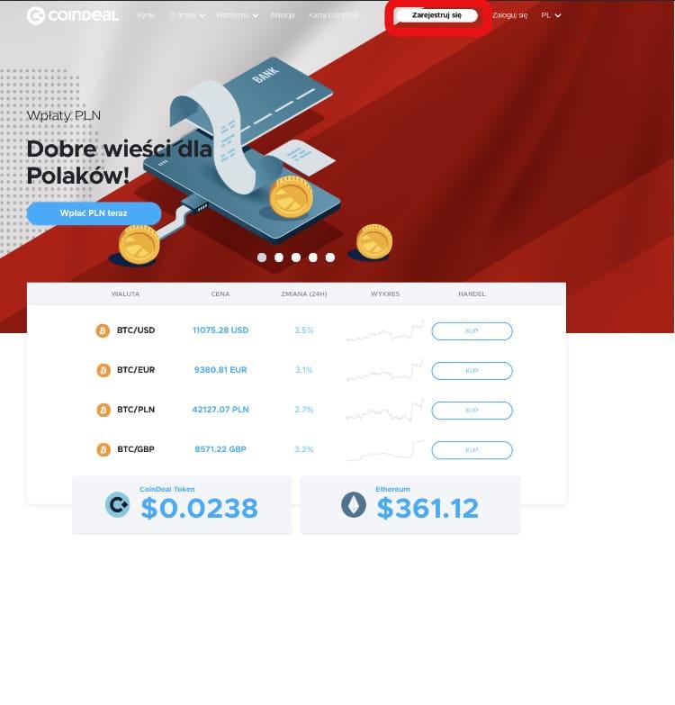 CoinDeal rejestracja nowego konta