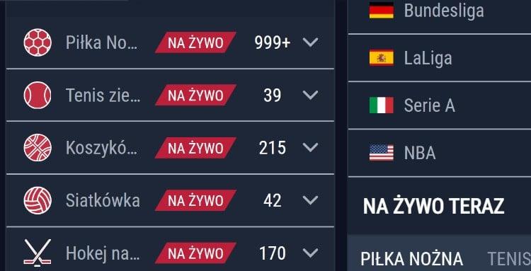 Rabona Sport live screenshot oferty