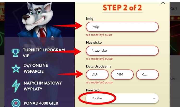 rejestracja krok 2